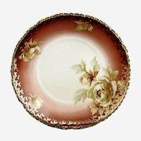 Antique porcelain bowl peonies gold trim Ohme