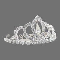 Rhinestone studded tiara hair comb crown wedding prom