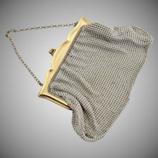 Art Deco mesh purse gold brass Whiting Davis