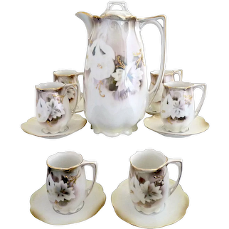 Antique R.S. Prussia chocolate pot cups gold enameling