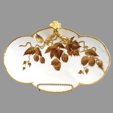 Limoges porcelain tray Autumn leaves in gold