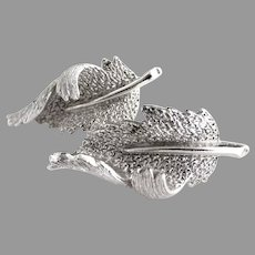 Vintage silver leaf earrings clip on Coro