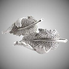Vintage silver leaf earrings clip on Coro
