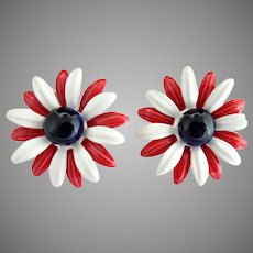 Patriotic enameled clip earrings red white blue daisies