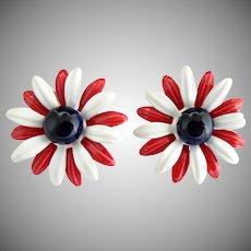 Patriotic enameled clip earrings red white blue daisies