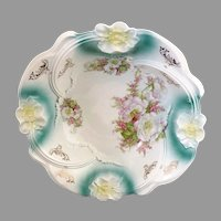 German porcelain bowl carnation rim c. 1890s