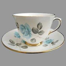 Staffordshire porcelain cup saucer Blue Roses
