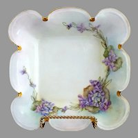 Rosenthal square bowl hand painted violets c. 1910