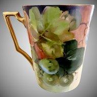 Bavaria porcelain wine cup hand painted grapes Heinrich & Co.