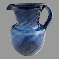 Antique cobalt seed glass pitcher hand blown