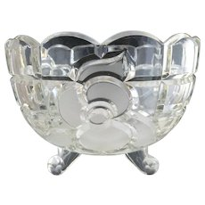 Vintage frosted glass rose bowl cabriole legs