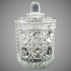 Daisy and Button glass jar sugar jam mid-century