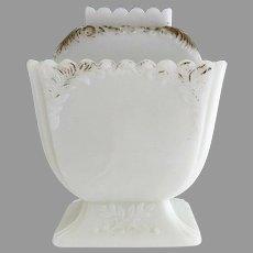 Westmoreland opaque milk glass sugar bowl Feather