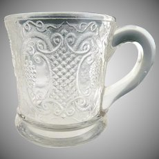 Antique glass mug Bryce Walker Grape with Scroll Medallion
