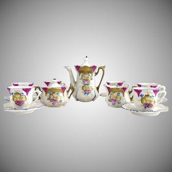 RS Prussia porcelain toy tea set hand painted original box