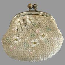Antique leather silk dolls purse