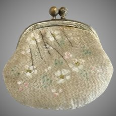 Antique leather silk dolls purse