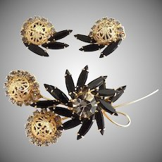 Delizza Ester Juliana brooch earrings black navettes