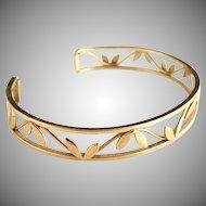 Vintage Krementz gold leaf cuff bracelet