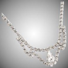 Vintage teardrop rhinestone necklace wedding c. 1950s