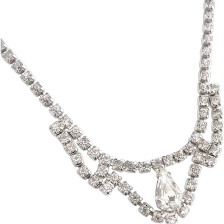 Vintage teardrop rhinestone necklace wedding c. 1950s