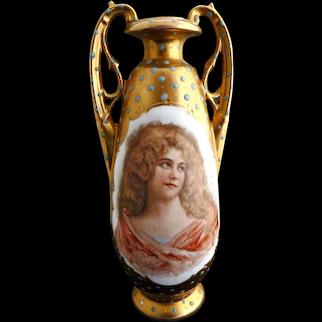 Austria porcelain portrait vase raised gilded enameling c. 1904