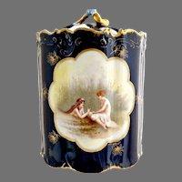 Antique cobalt tobacco jar Women in Marsh by Rosenthal