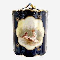 Rosenthal antique tobacco jar Women in Marsh cobalt gold