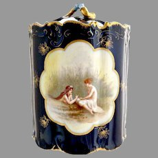 Rosenthal antique tobacco jar Women in Marsh cobalt gold