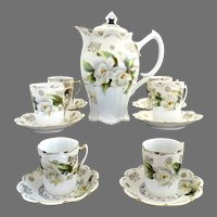 Exquisite German porcelain chocolate set magnolias c. 1890s