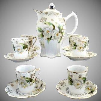 Exquisite fine porcelain chocolate pot set magnolias gold c. 1890s