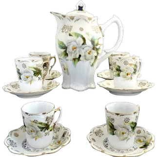 Exquisite German fine porcelain chocolate set magnolias c. 1890s