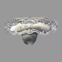 Antique Art Nouveau sterling silver money clip engraved