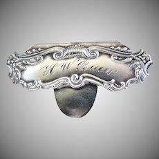 Antique Art Nouveau sterling silver money clip engraved