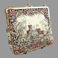 Vintage Jolles tapestry purse Castle scene