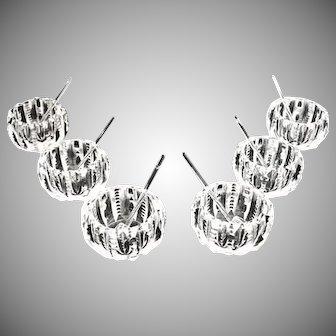 Bergen American Brilliant cut glass salt dips spoons