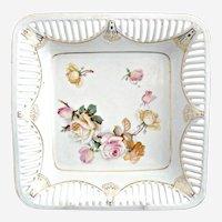 Antique German porcelain bowl square design reticulated rim