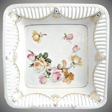 Antique German porcelain bowl square design reticulated rim