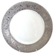 Art Deco Pickard charger platinum tapestry rim