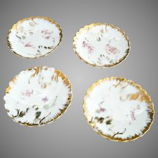 Rare CS Prussia porcelain butter pats brushed gold