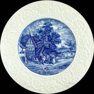 Coalport England porcelain plate embossed rim pastoral scene