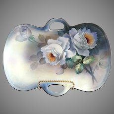 Art Deco Japanese porcelain serving tray white roses Nippon