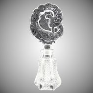 Antique glass perfume bottle stylized peacock stopper