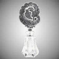 Antique glass perfume bottle stylized peacock stopper