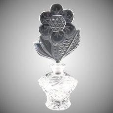 Vintage Czech pressed glass perfume daisy stopper