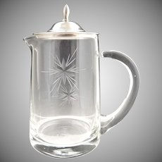 Etched crystal cream pitcher sterling lid