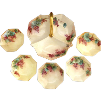 CS Prussia berry set hand painted porcelain c. 1912