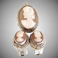 German coin silver cameo pendant earrings