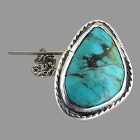 Mens tie tack sterling silver turquoise
