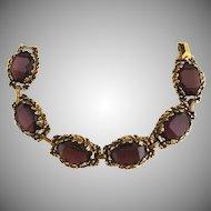 Vintage amethyst glass link bracelet